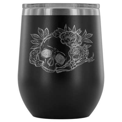 teelaunch Wine Tumbler Black Skull & Rose Wine Tumbler