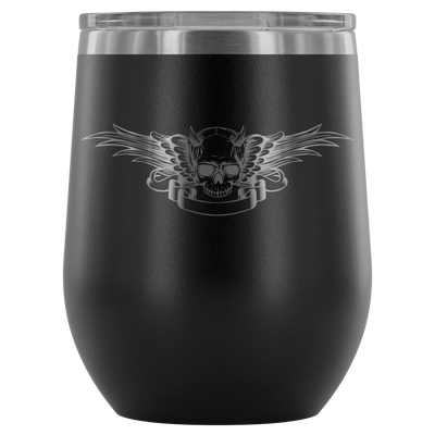 teelaunch Wine Tumbler Black Winged Skull Wine Tumbler