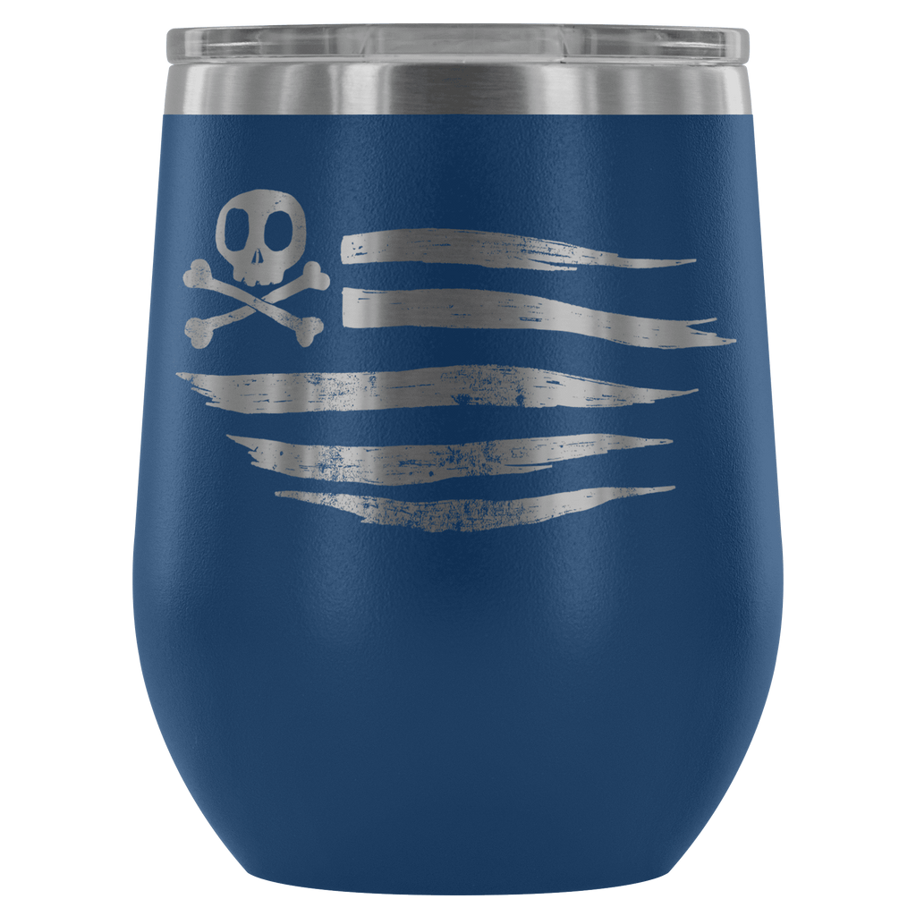 teelaunch Wine Tumbler Blue American Flag Wine Tumbler