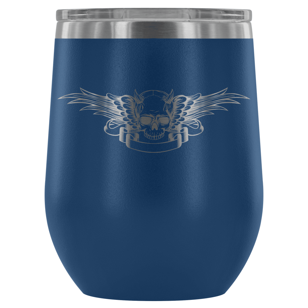 teelaunch Wine Tumbler Blue Winged Skull Wine Tumbler