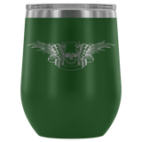 teelaunch Wine Tumbler Green Winged Skull Wine Tumbler