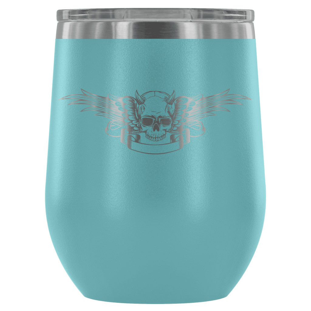 teelaunch Wine Tumbler Light Blue Winged Skull Wine Tumbler