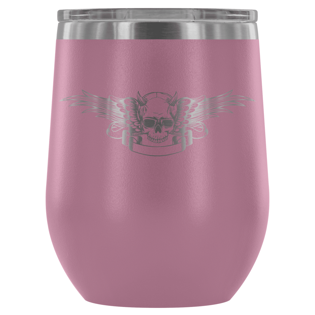 teelaunch Wine Tumbler Light Purple Winged Skull Wine Tumbler