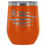 teelaunch Wine Tumbler Orange American Flag Wine Tumbler