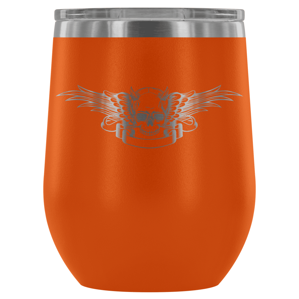 teelaunch Wine Tumbler Orange Winged Skull Wine Tumbler