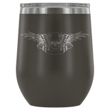 teelaunch Wine Tumbler Pewter Winged Skull Wine Tumbler