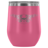 teelaunch Wine Tumbler Pink Winged Skull Wine Tumbler