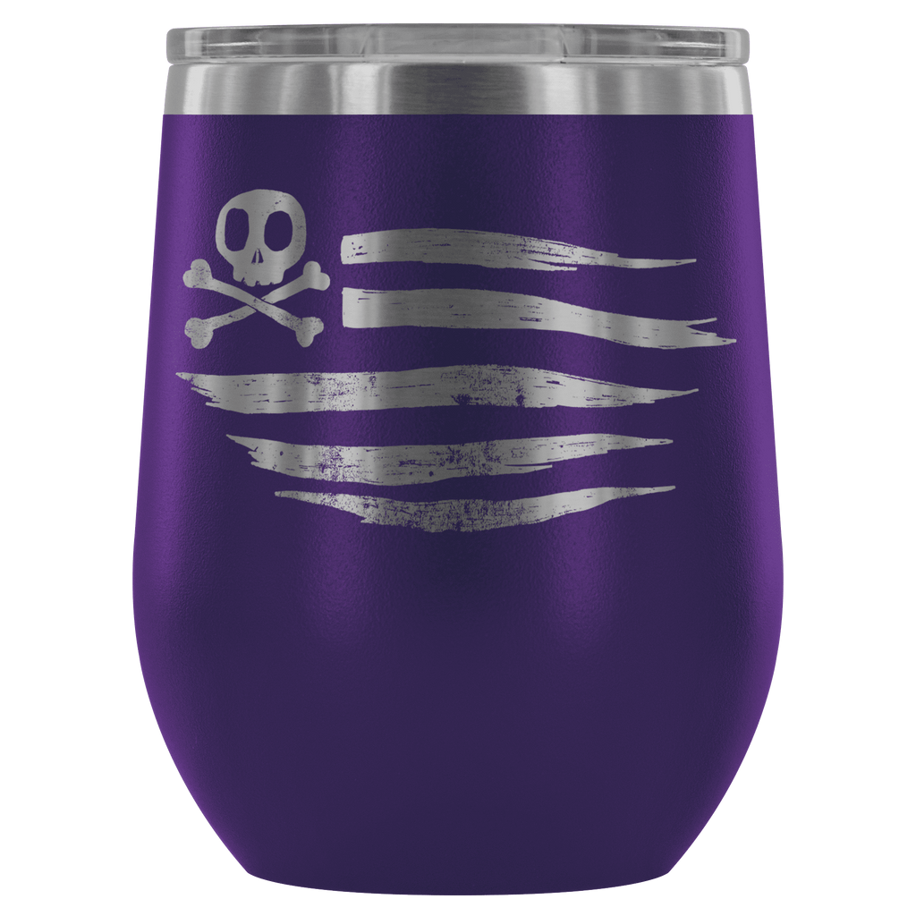 teelaunch Wine Tumbler Purple American Flag Wine Tumbler