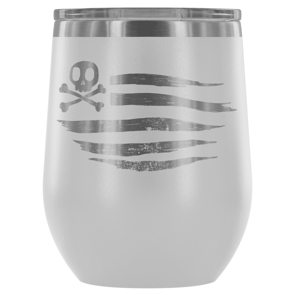 teelaunch Wine Tumbler White American Flag Wine Tumbler