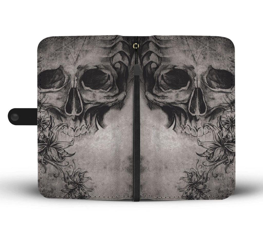 wc-fulfillment Wallet Case Dark Skull & Rose Wallet Case