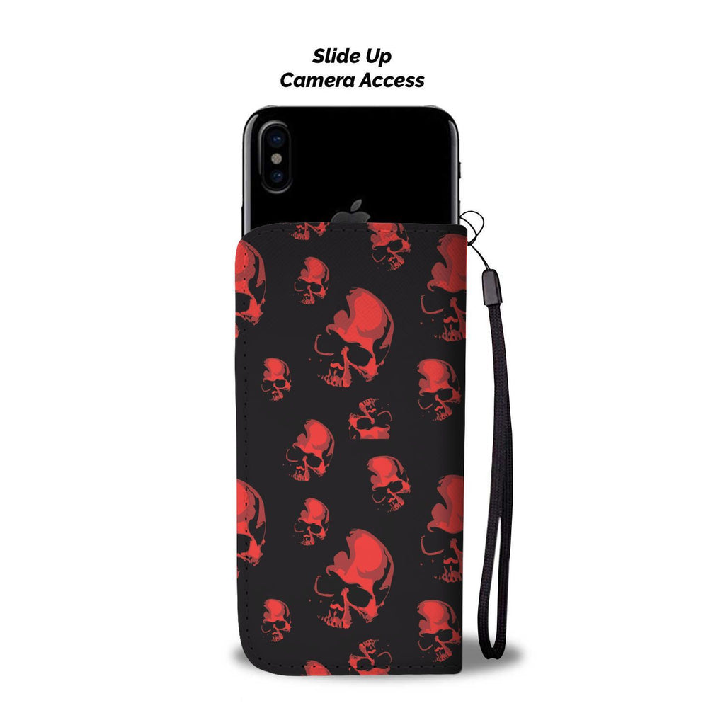wc-fulfillment Wallet Case Red Skulls Wallet Case