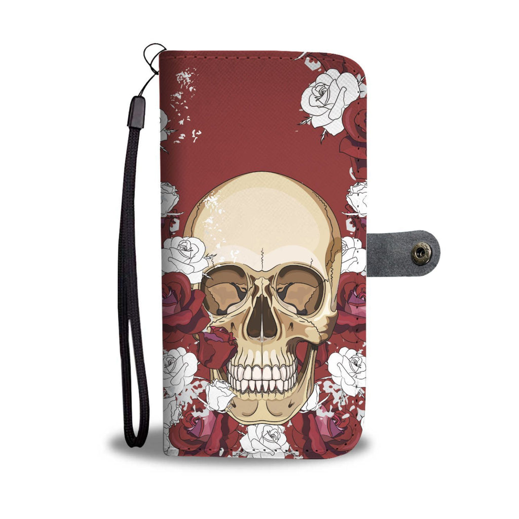 wc-fulfillment Wallet Case Red Wine Skull & Roses Wallet Case