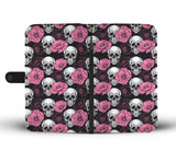 wc-fulfillment Wallet Case Skull & Pink Roses Wallet Case
