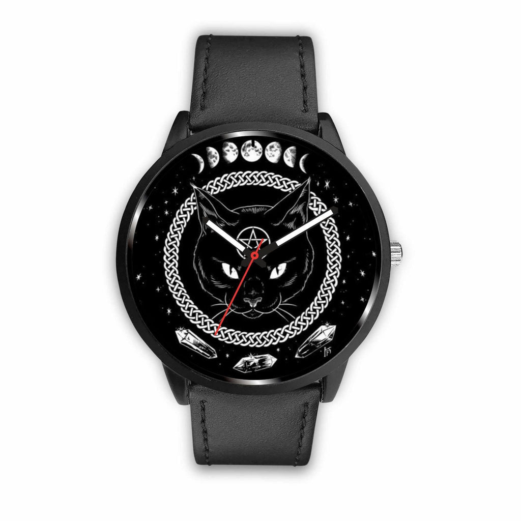 wc-fulfillment Watch Mens 40mm / Black Black Cat Gothic Watch