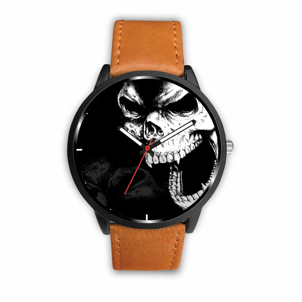 wc-fulfillment Watch Mens 40mm / Brown Angry Skull Watch