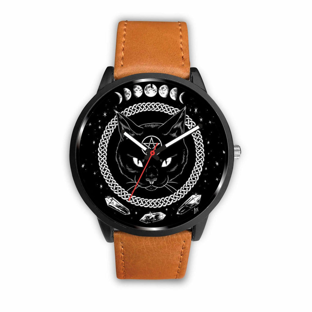 wc-fulfillment Watch Mens 40mm / Brown Black Cat Gothic Watch