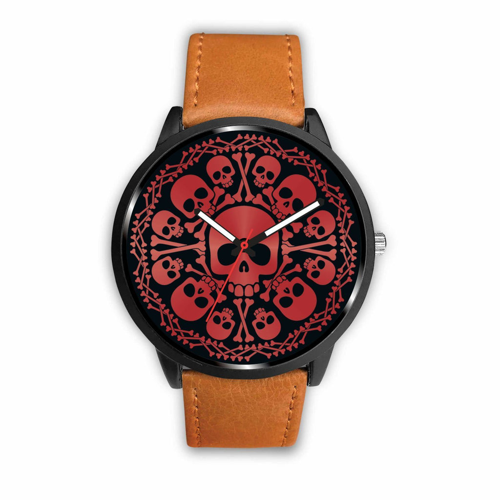 wc-fulfillment Watch Mens 40mm / Brown Red Skulls Watch