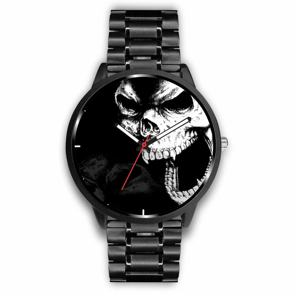 wc-fulfillment Watch Mens 40mm / Metal Link Angry Skull Watch