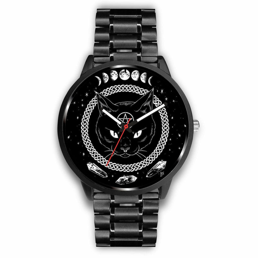 wc-fulfillment Watch Mens 40mm / Metal Link Black Cat Gothic Watch