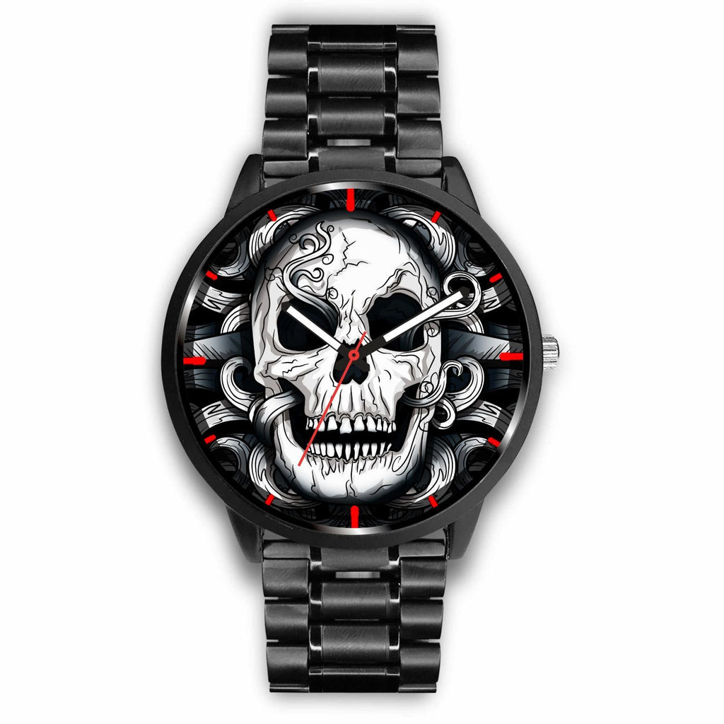 wc-fulfillment Watch Mens 40mm / Metal Link Punk Dark Skull Watch