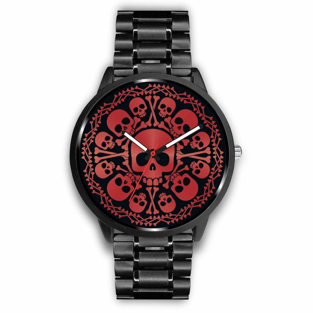 wc-fulfillment Watch Mens 40mm / Metal Link Red Skulls Watch