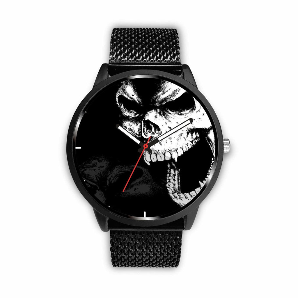 wc-fulfillment Watch Mens 40mm / Metal Mesh Angry Skull Watch