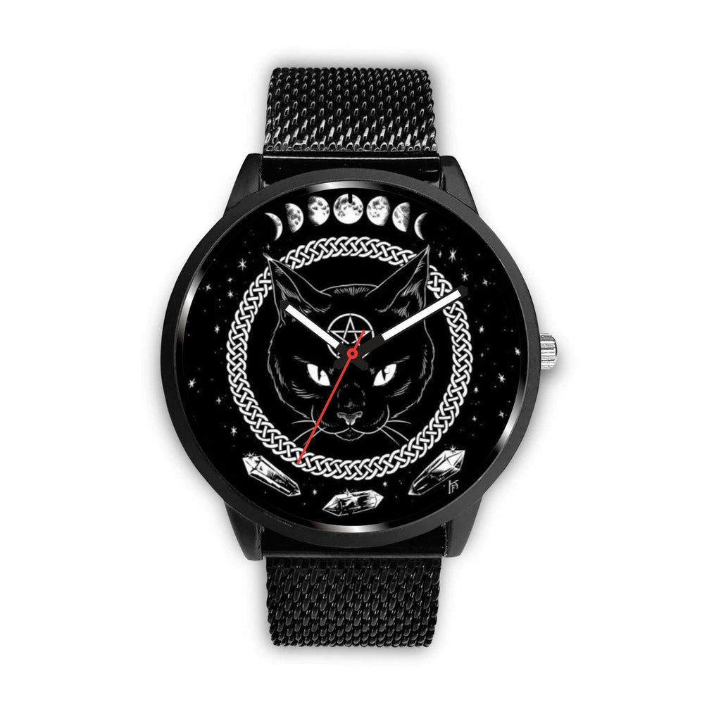 wc-fulfillment Watch Mens 40mm / Metal Mesh Black Cat Gothic Watch