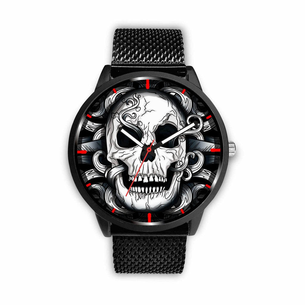 wc-fulfillment Watch Mens 40mm / Metal Mesh Punk Dark Skull Watch