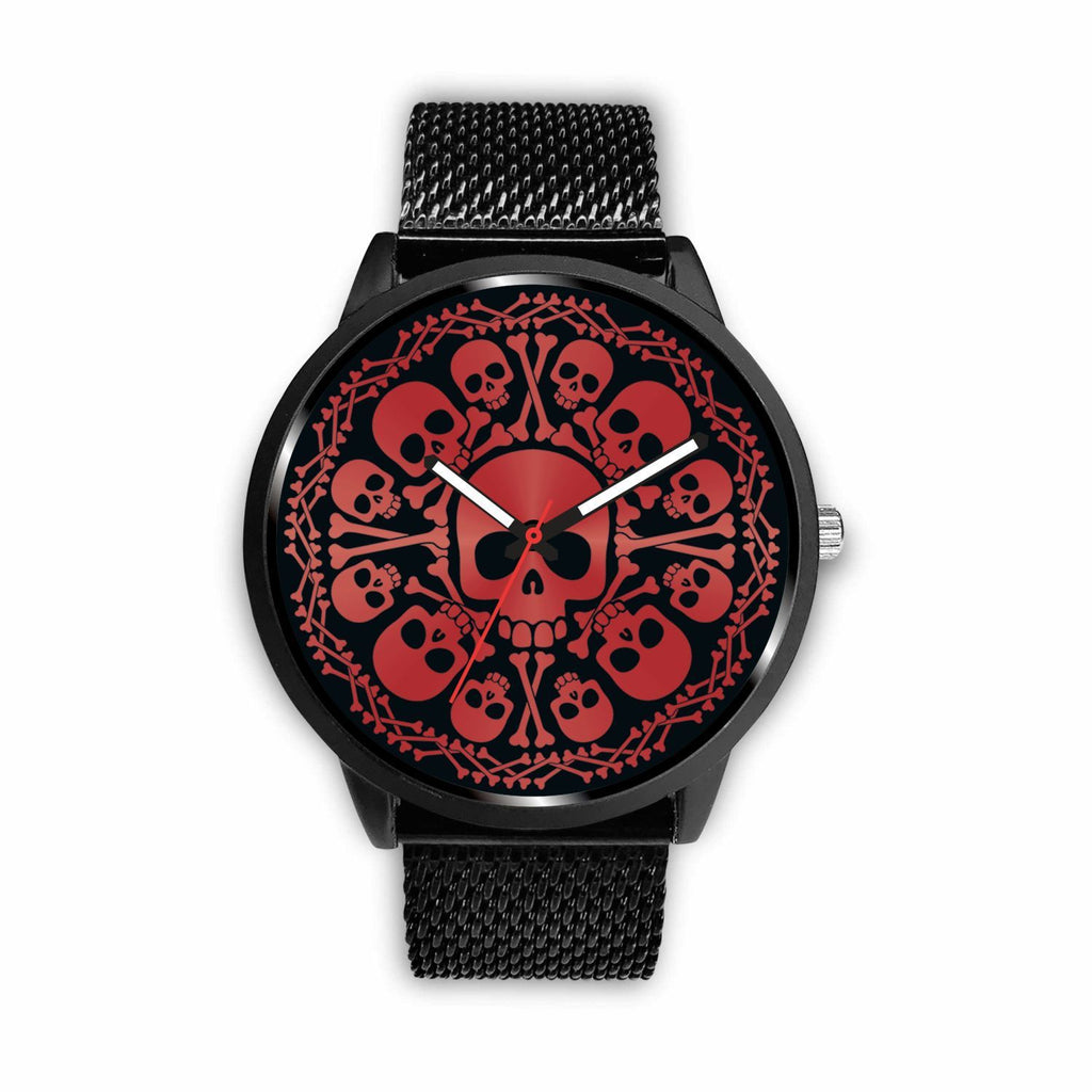 wc-fulfillment Watch Mens 40mm / Metal Mesh Red Skulls Watch