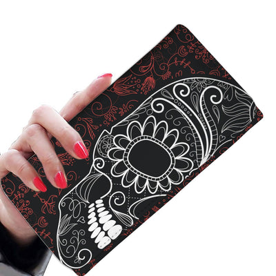 wc-fulfillment Womens Wallet Dark Red Skull Women Wallet