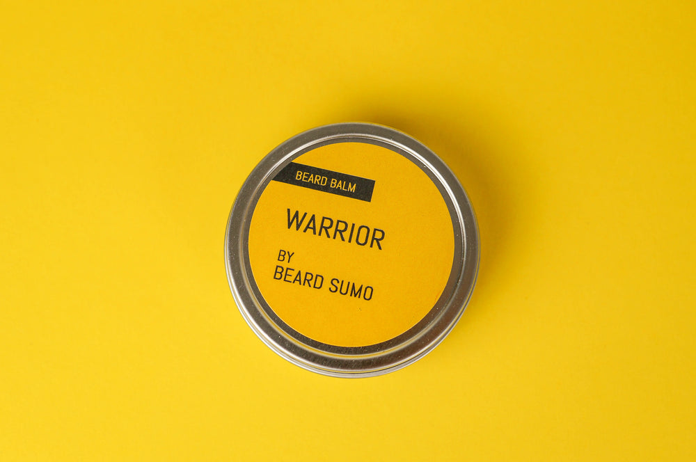 Warrior scented beard balm canister