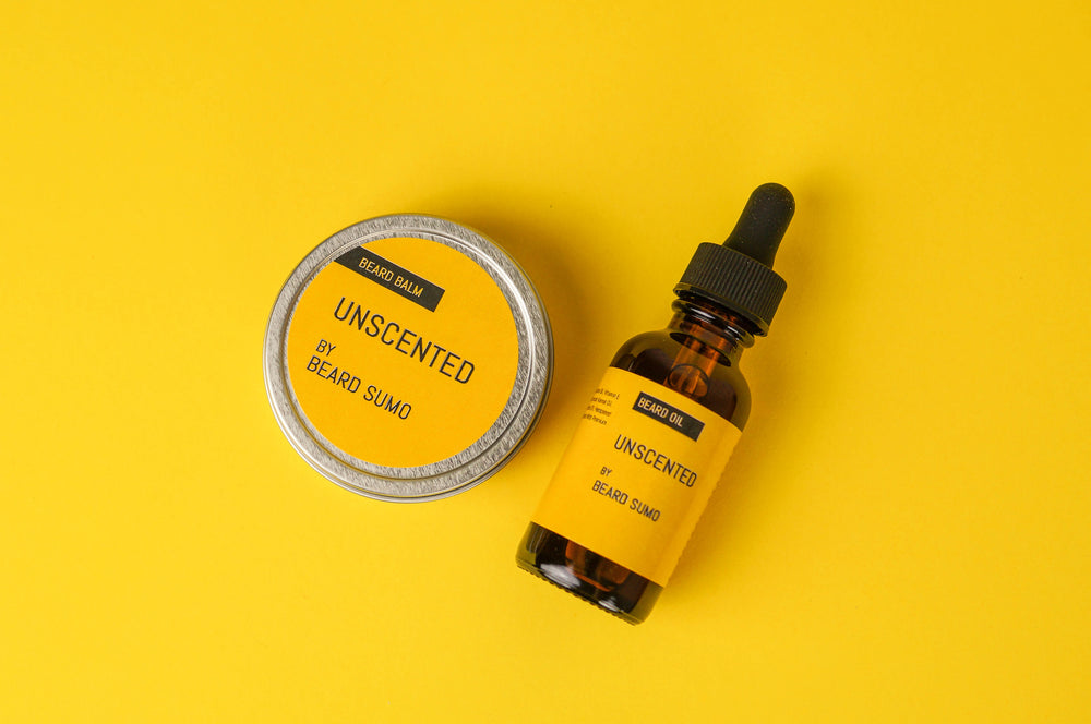 Unscented Beard Care Kit - Beard Oil and Beard Balm front view on yellow background