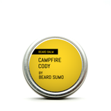 Front view of Campfire Cody scented beard balm, yellow label, black text