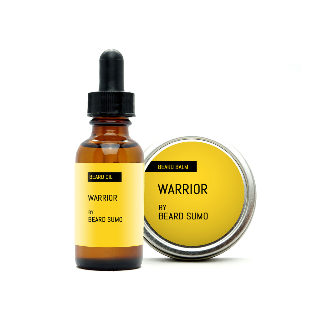 Warrior scented beard balm and beard oil, yellow label with black text
