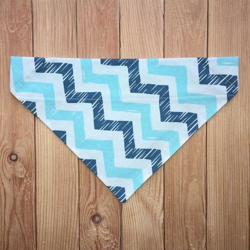 Blue Chevron Dog Bandana