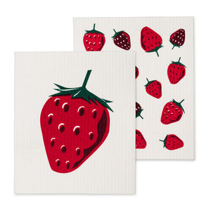 Set of 2 - Strawberry Swedish Dishcloths