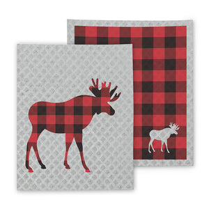 Moose and Check Swedish Dishcloths