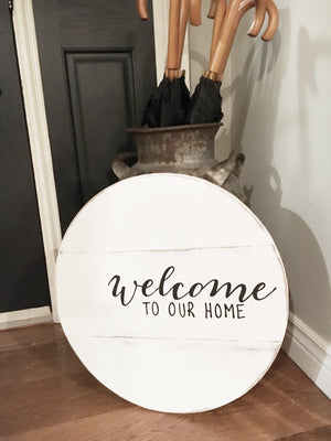 Round Welcome Sign