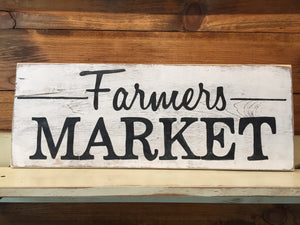 wooden farmers market sign