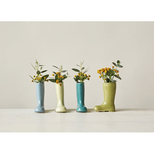 Boot Vase with distressed finish-4 colors available