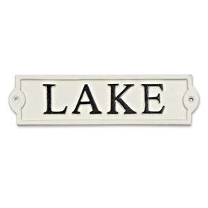 Lake cast iron sign in white and black