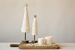 Wool Cream Trees with Wood Base