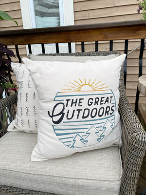 The Great Outdoors Hand-Painted Pillow