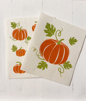 Fall Pumpkins -  Set of 2 Swedish Dishcloths