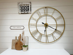 Extra Large Farmouse Clock - gold