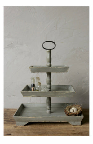 Decorative wood  three tier tray -Grey