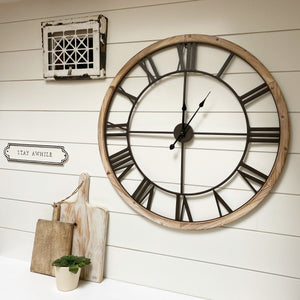 Wood Frame Farmhouse Clock