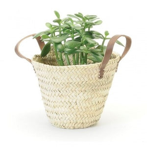 Straw Basket with Leather Handles