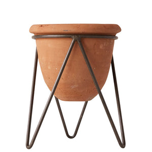 Terra Cotta Pot with Metal Stand