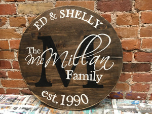 Round Monogram Sign Workshop| Whitby Location